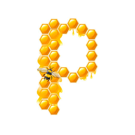 Honeycomb letter P with honey drops and bee flat vector illustration isolated on white background.