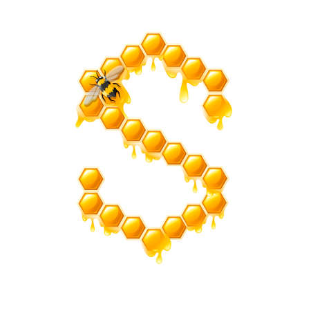 Honeycomb letter S with honey drops and bee flat vector illustration isolated on white background.