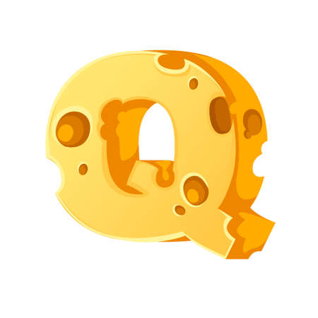 Cheese letter Q style cartoon food design flat vector illustration isolated on white background.