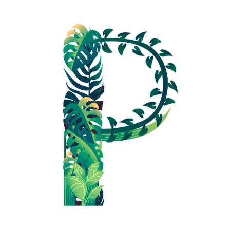Leaf letter P with diffirent types of green leaves and foliage flat vector illustration isolated on white background. Banco de Imagens - 130722584