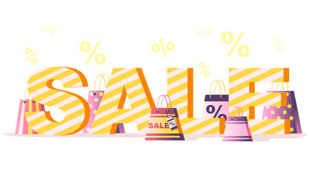 Shopping paper bag with sale tag % and SALE word flat vector illustration on white background with percentage symbol.