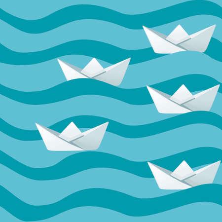 Group of white folded paper boats on abstract sea waves flat vector illustration. 向量圖像