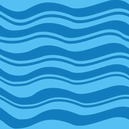 Blue sea waves pattern flat vector illustration.