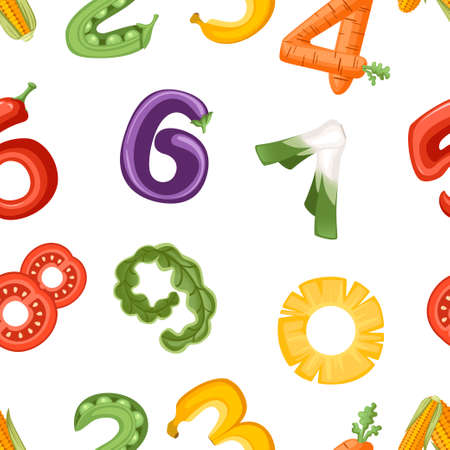 Seamless pattern of numbers in vegetable and fruit style food cartoon design flat vector illustration on white background. Vectores