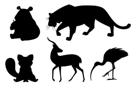 Black silhouette set of different animals cartoon design flat vector illustration isolated on white background cute wild animal.