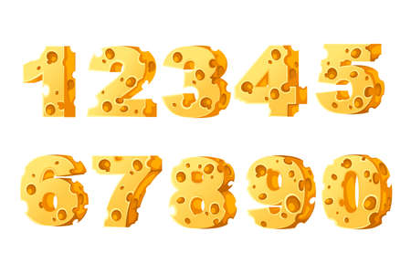 Set of numbers cheese style cartoon food design flat vector illustration isolated on white background. Иллюстрация