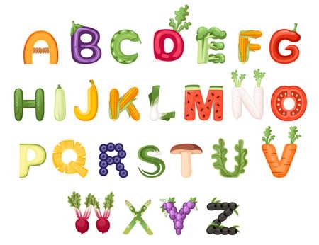 Set of vegetable and fruit alphabet food style cartoon vegetable design flat vector illustration isolated on white background. Stock Illustratie