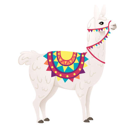 Cute llama wearing decorative saddle with patterns cartoon animal design flat vector illustration isolated on white background side view.