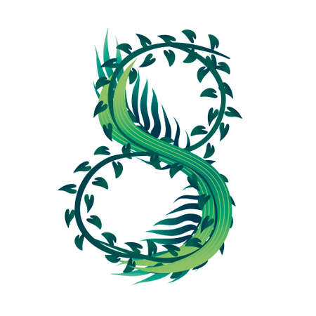 Leaf number 8 with different types of green leaves and foliage cartoon style design flat vector illustration isolated on white background. Ilustração