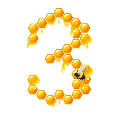 Honeycomb number 3 with honey drops and bee cartoon style food design flat vector illustration isolated on white background.