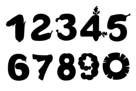 Black silhouette set of numbers style food cartoon design flat vector illustration isolated on white background.