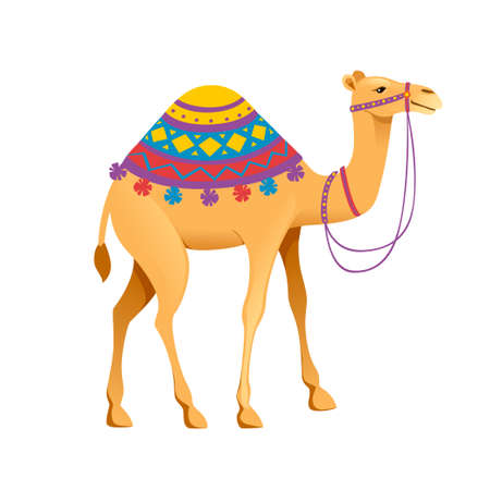 Cute one hump camel with bridle and saddle cartoon animal design flat vector illustration isolated on white background.