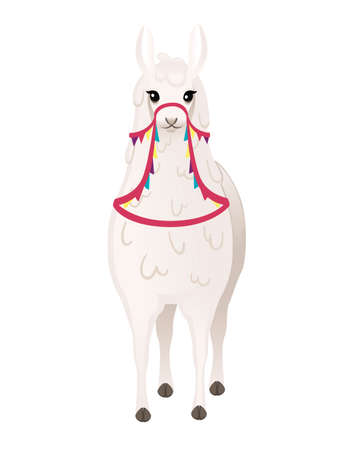 Cute llama wearing decorative saddle with patterns cartoon animal design flat vector illustration isolated on white background front view.