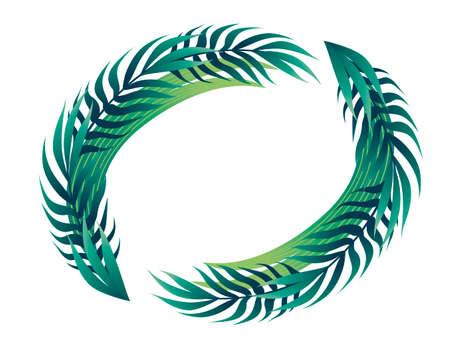Tropical leaves in circle floral design frame concept flat vector illustration on white background. Ilustração