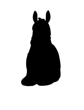 Black silhouette of llama sitting on ground cartoon animal design flat vector illustration isolated on white background front view.  イラスト・ベクター素材