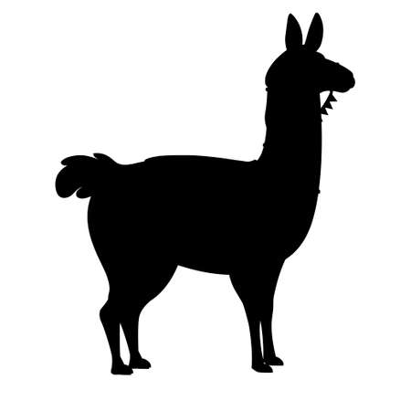 Black silhouette of llama cartoon animal design flat vector illustration isolated on white background side view.