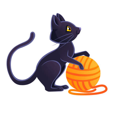 Cute adorable black cat playing with orange ball of wool cartoon animal design flat vector illustration on white background. 일러스트