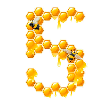 Honeycomb number 5 with honey drops and bee cartoon style food design flat vector illustration isolated on white background.