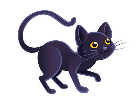 Cute adorable black cat cartoon animal design flat vector illustration on white background. Illustration