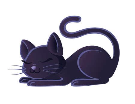 Cute adorable black cat sleeping on ground cartoon animal design flat vector illustration on white background. Иллюстрация