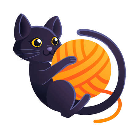 Cute adorable black cat playing with orange ball of wool cartoon animal design flat vector illustration on white background. Иллюстрация