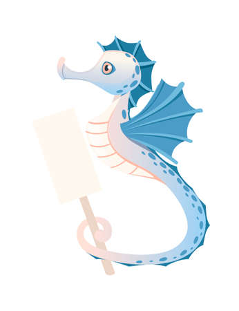 Cute adorable blue seahorse cartoon sea animal design flat vector illustration isolated on white background.