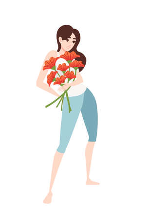 Women in casual clothes holding a bouquet of poppies cartoon character design flat vector illustration on white background.
