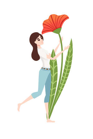 Big poppy flower and women in casual clothes abstract cartoon character design flat vector illustration on white background.