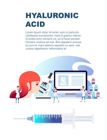 Hyaluronic acid injection medical syringe and containers skin care and medical intervention flat vector illustration on white background vertical flyer design. Çizim