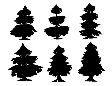 Black silhouette set of abstract modern stylized coniferous trees flat vector illustration isolated on white background.