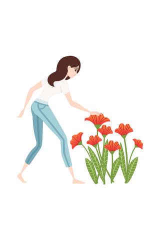 Women in casual clothes examines a bed of poppy flowers cartoon character design flat vector illustration on white background. Çizim