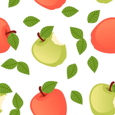 Seamless pattern of bitten apple with green leaves flat vector illustration on white background.