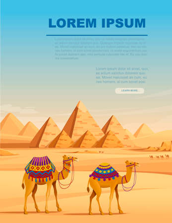 Giza Egyptian Pyramids desert landscape with camels flat vector illustration vertical banner design. Ilustração