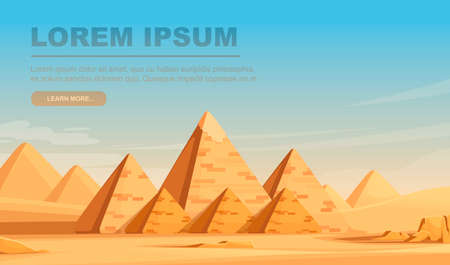 Giza Egyptian Pyramids desert landscape with sky flat vector illustration horizontal banner design.