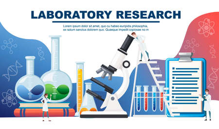 Chemistry laboratory abstract design with big equipment and little scientists advertising flyer design flat vector illustration.