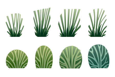 Set of green grass and bushes modern foliage design for garden or public park decoration flat vector illustration isolated on white background.