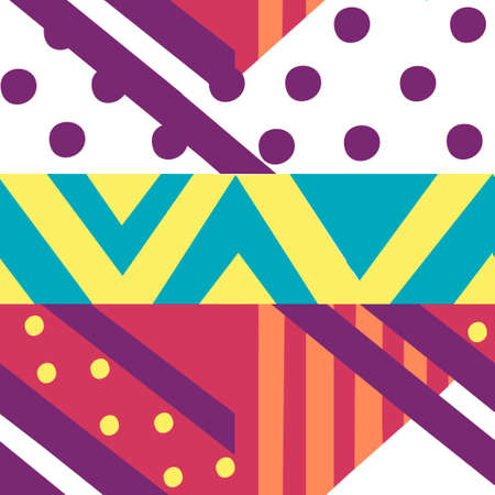 Seamless pattern of abstract geometric shapes flat vector illustration.