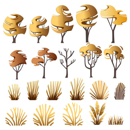 Big set of yellow autumn grass bushes and trees modern foliage design for garden or public park decoration flat vector illustration isolated on white background?