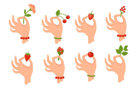 Set of hand holding berries or leaves flat vector illustration isolated on white background.