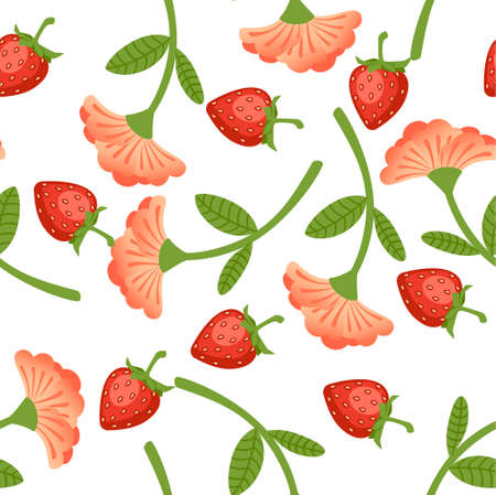 Seamless pattern of wild strawberries and red flower flat vector illustration on white background.