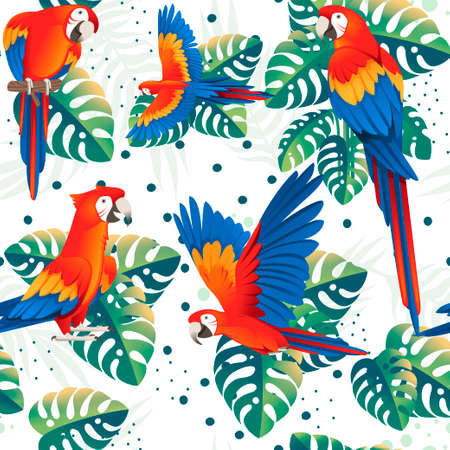 Seamless pattern of adult parrot of red-and-green macaw Ara (Ara chloropterus) with green tropical leaves cartoon bird design flat vector illustration on white background.