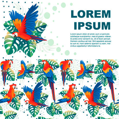 Adult parrot of red-and-green macaw Ara (Ara chloropterus) and tropical green leaves cartoon bird design flat vector illustration on white background horizontal flyer design.