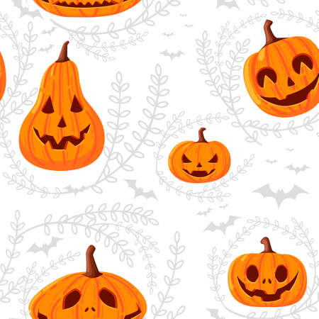Seamless pattern of cute and scary Halloween pumpkins with faces cartoon vegetables flat vector illustration on white background with silhouette of leaves and bat.
