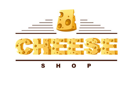 Concept CHEESE word food style letters creative  design flat vector illustration on white background.