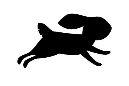 Black silhouette cute grey rabbit running forward cartoon animal design flat vector illustration isolated on white background. Ilustração