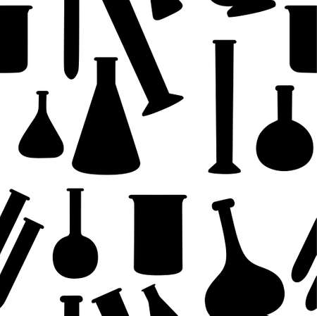 Seamless pattern of laboratory chemistry flasks with different size and shapes and filled with liquid flat vector illustration on white background.