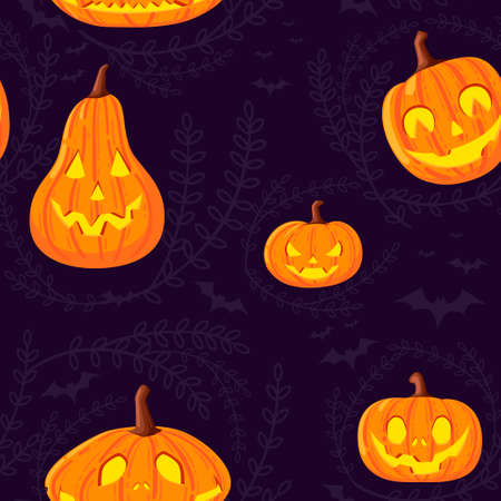 Seamless pattern of cute and scary Halloween pumpkins with faces cartoon vegetables flat vector illustration on dark background with silhouette of leaves and bat.