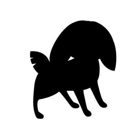 Black silhouette cute grey rabbit stand on ground cartoon animal design flat vector illustration isolated on white background. Ilustração