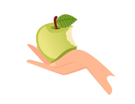 Hand hold the green bitten apple flat vector illustration isolated on white background.