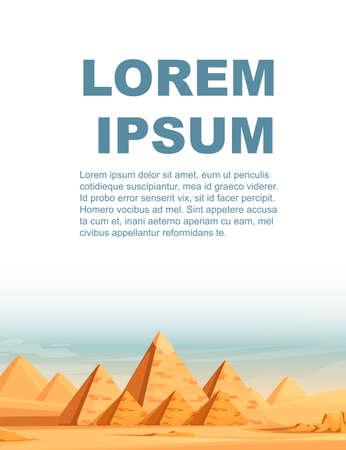 Giza Egyptian Pyramids desert landscape with camels flat vector illustration vertical banner design. Ilustração